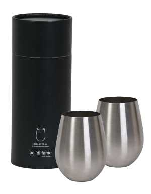 Stemless Stainless Steel Wine Glass Set with Logo