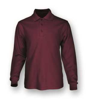 Kids Basic Polo L/S Maroon 10