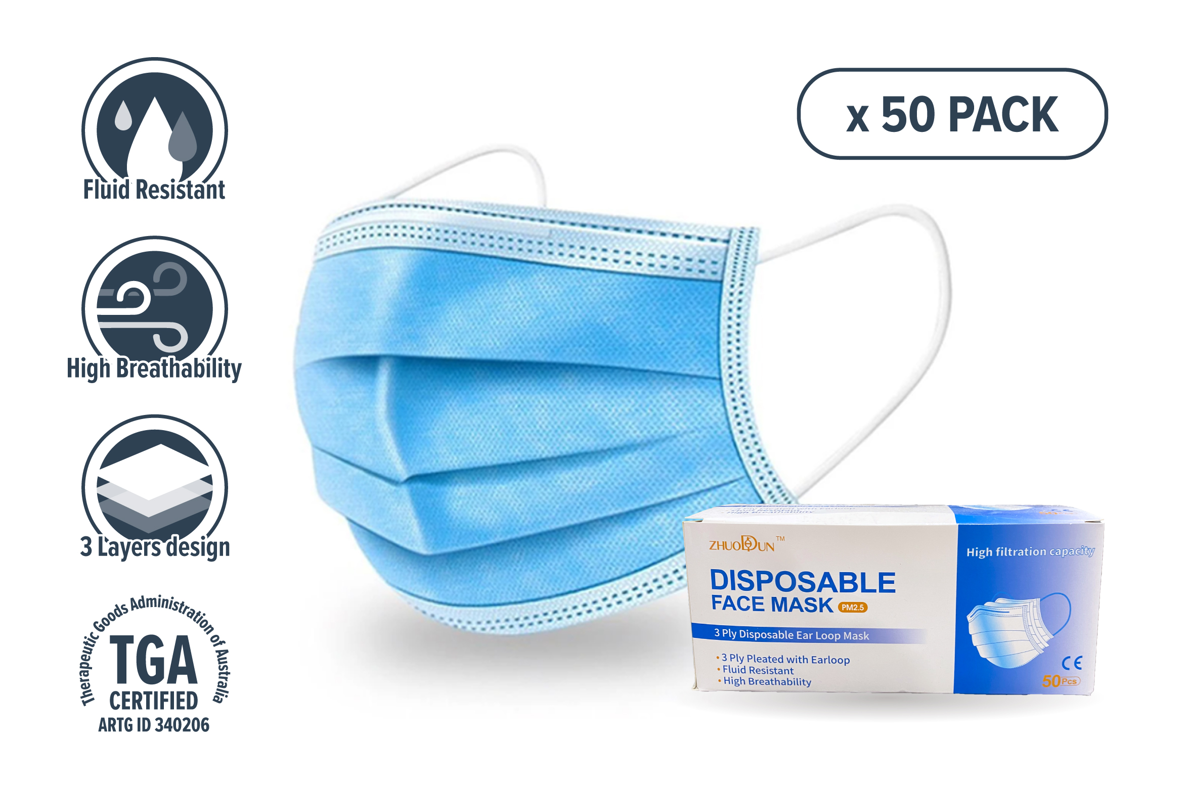 3 Layer Disposable Face Mask -  50 pc
