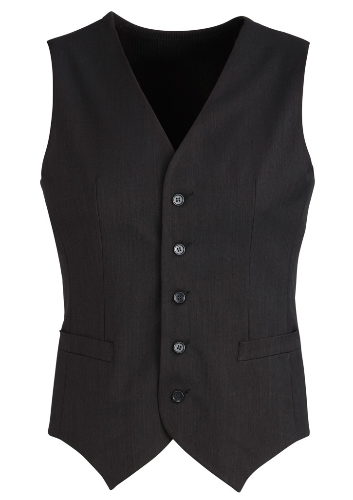 Mens Peaked Vest With Knitted Back Black 102