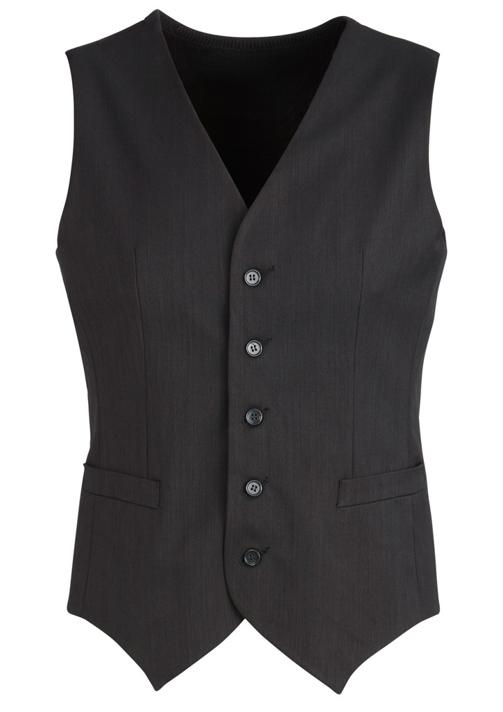 Mens Peaked Vest With Knitted Back Charcoal 102
