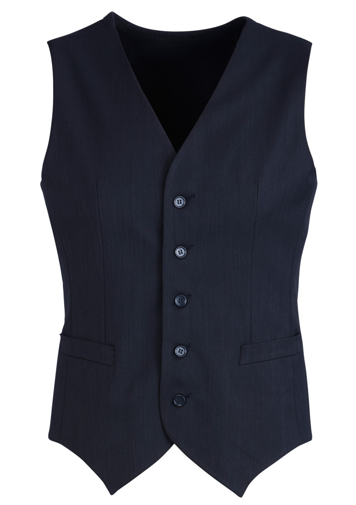 Mens Peaked Vest With Knitted Back Navy 102