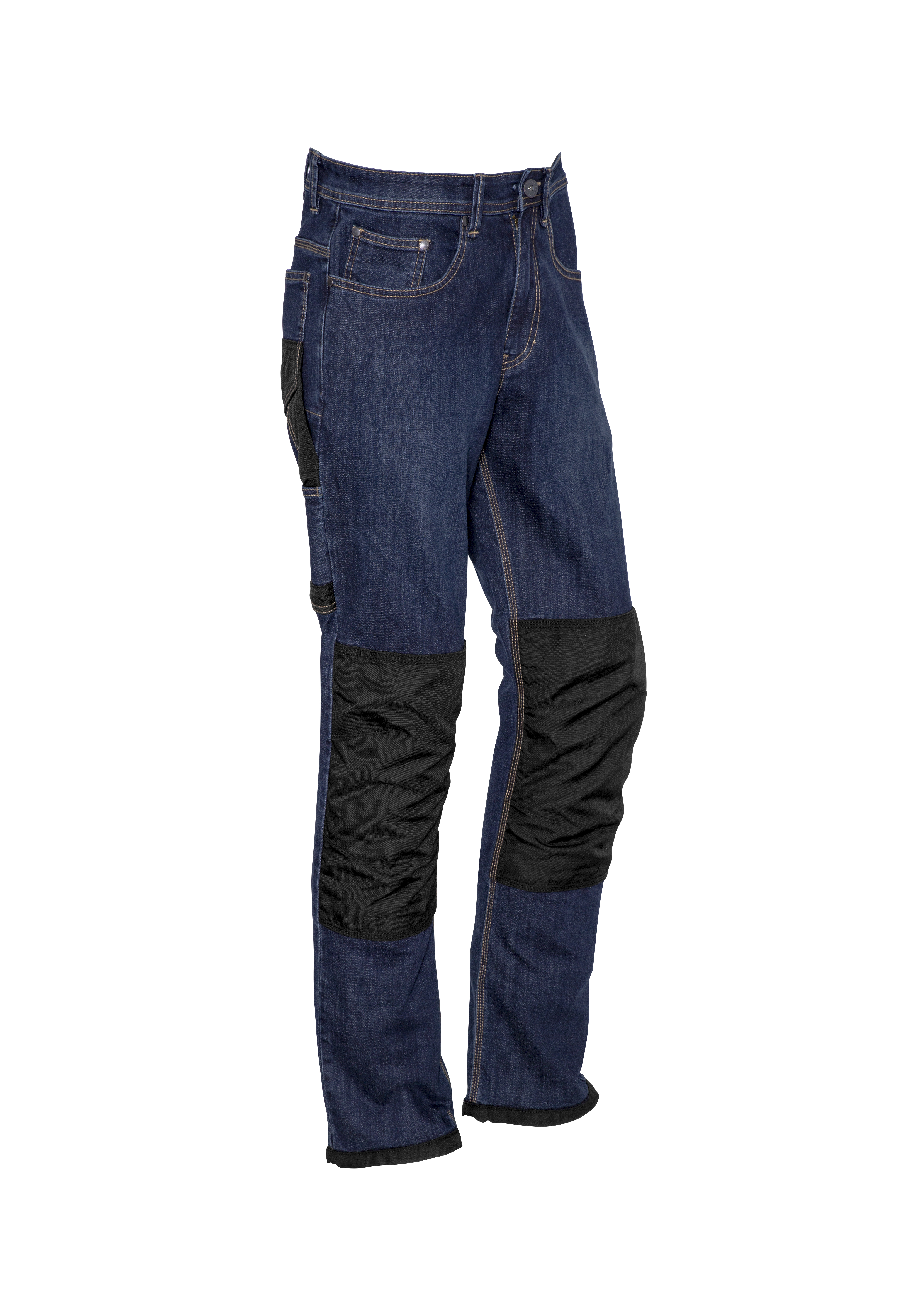 Mens Heavy Duty Cordura Stretch Denim Jeans Blue Denim