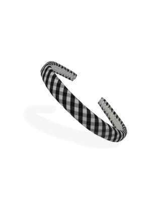Headband Black/White Check Thin