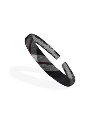 School Headband Grey/Red/White Check Thin