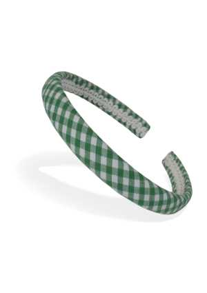 School Headband Green/White Check Thin